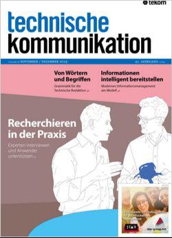 """Cover von Ausgabe 19-6 der Zeitschrift """"technische kommunikation"""""""